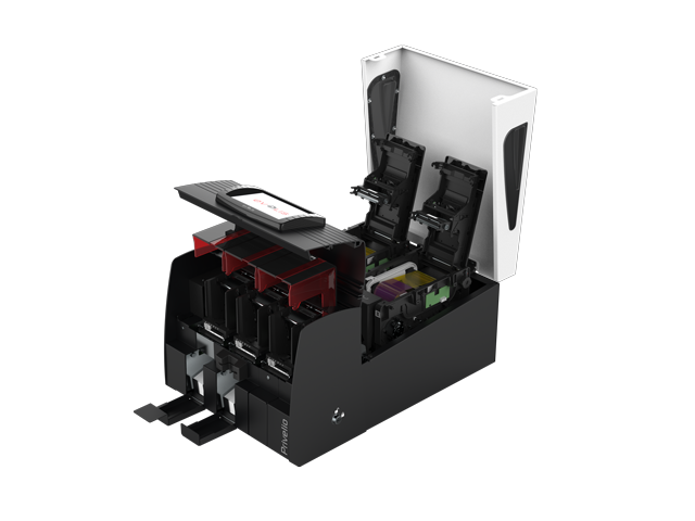 privelio-printer-of-evolis-side-view-with-hopper-open